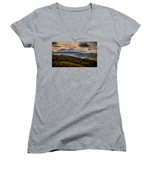 Women's V-Neck T-Shirt (Junior Cut) featuring the photograph St. Helens Wrath by Dan Mihai