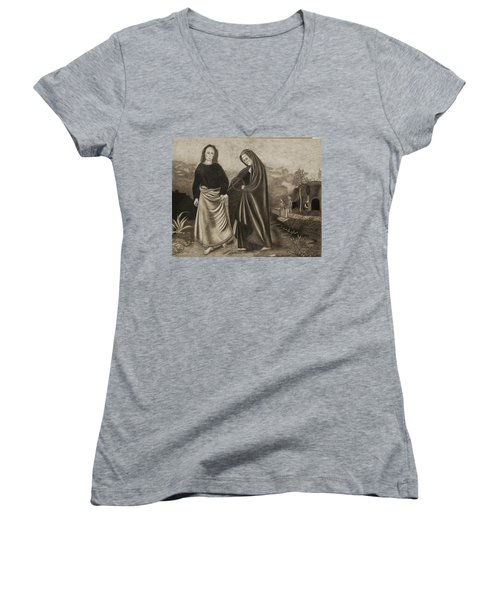 St. John And Blessed Mother At The Tomb Women's V-Neck (Athletic Fit)