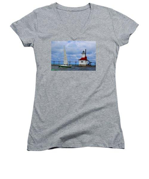 St. Joseph Lighthouse Sailboat Women's V-Neck (Athletic Fit)