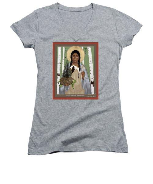 St. Kateri Tekakwitha Of The Iroquois - Rlktk Women's V-Neck