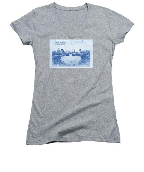 Women's V-Neck T-Shirt (Junior Cut) featuring the photograph St. Louis Cardinals Busch Stadium Blueprint Names by David Haskett