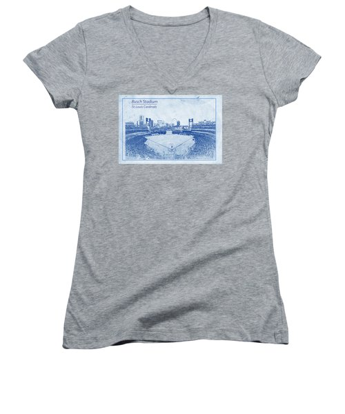 Women's V-Neck T-Shirt (Junior Cut) featuring the photograph St. Louis Cardinals Busch Stadium Blueprint Words by David Haskett