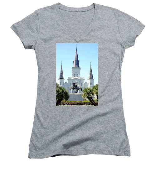 St. Louis Cathedral From Jackson Square Women's V-Neck T-Shirt