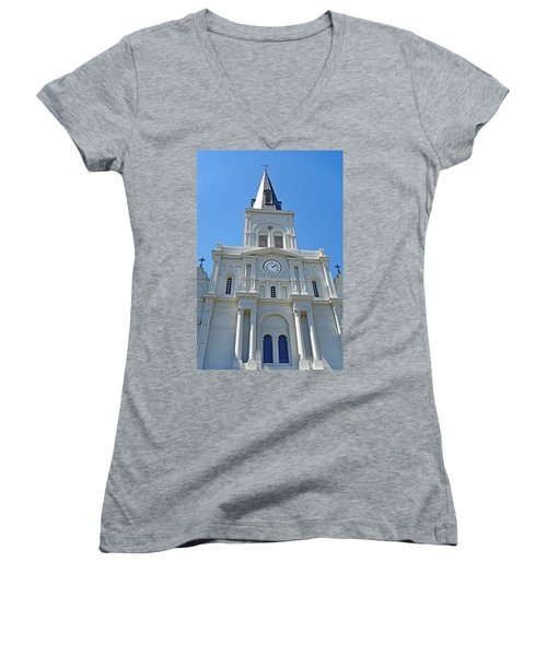 St. Louis Cathedral Study 1 Women's V-Neck T-Shirt