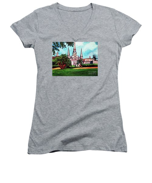 Women's V-Neck T-Shirt (Junior Cut) featuring the painting St. Louis Catheral New Orleans Art by Ecinja Art Works