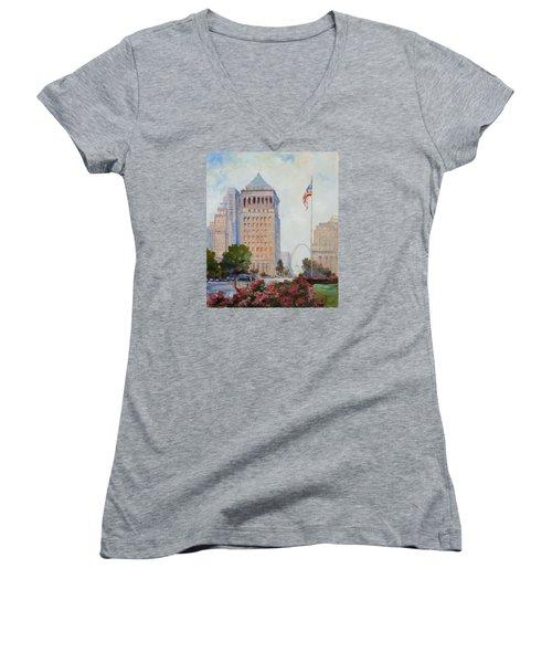 St. Louis Civil Court Building And Market Street Women's V-Neck T-Shirt (Junior Cut) by Irek Szelag