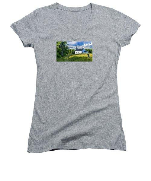 St. Margaret's Of Scotland Women's V-Neck T-Shirt (Junior Cut) by Ken Morris