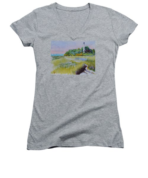 St. Marks Lighthouse Beachfront Women's V-Neck T-Shirt