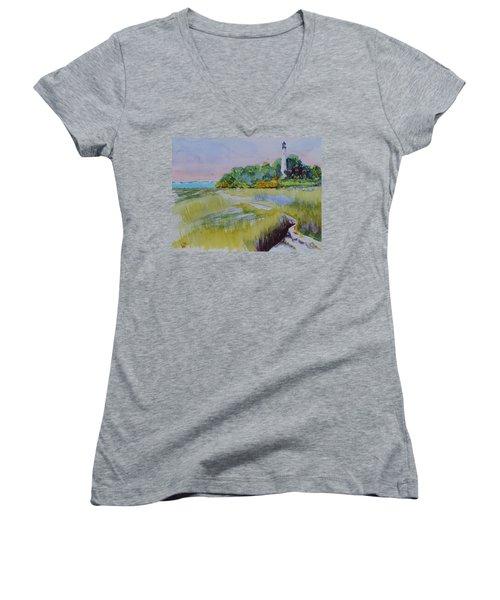 St. Marks Lighthouse Beachfront Women's V-Neck T-Shirt