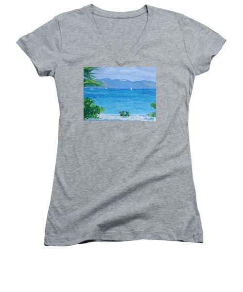 St Martin From Anguilla Women's V-Neck T-Shirt (Junior Cut) by Margaret Brooks