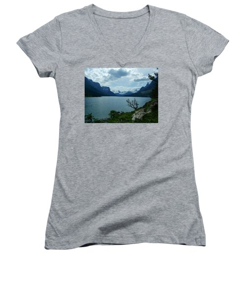 St Mary Lake, Incoming Storm Women's V-Neck T-Shirt