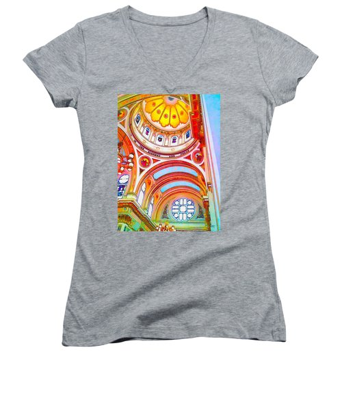 St. Mary Of The Angels 1 Women's V-Neck T-Shirt (Junior Cut) by Dave Luebbert