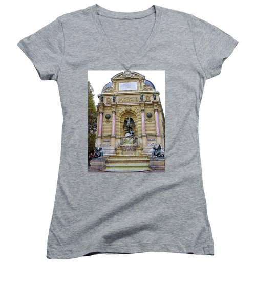 St. Michael's Fountain Women's V-Neck T-Shirt