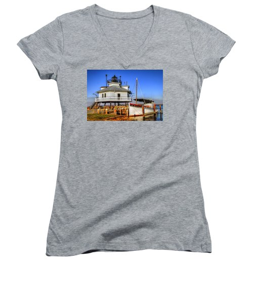 St Michaels Lighthouse Women's V-Neck T-Shirt (Junior Cut) by Dave Mills