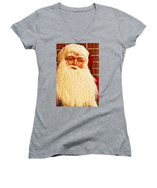 St. Nicholas Melting Canvas Photoart Women's V-Neck (Athletic Fit)