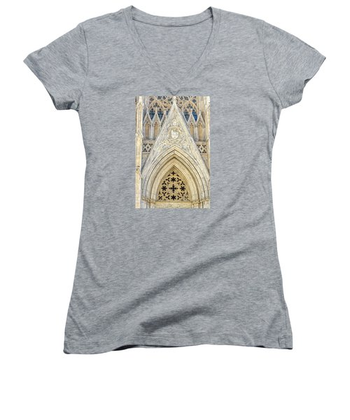 Women's V-Neck T-Shirt (Junior Cut) featuring the photograph St. Patrick's Cathedral by Sabine Edrissi