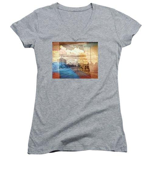 Women's V-Neck T-Shirt (Junior Cut) featuring the photograph St. Paul Capital Building by Susan Stone