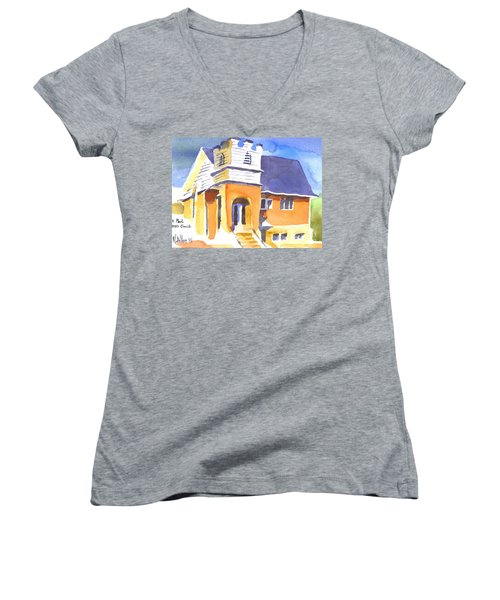 Women's V-Neck T-Shirt (Junior Cut) featuring the painting St. Paul Lutheran 3 Impressions by Kip DeVore