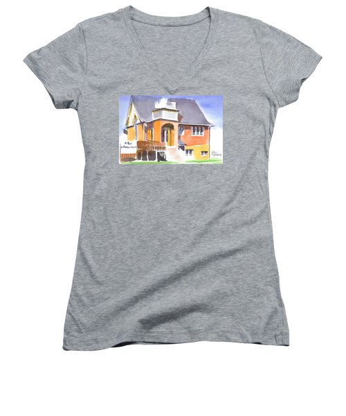 Women's V-Neck T-Shirt (Junior Cut) featuring the painting St Paul Lutheran In Watercolor 2 by Kip DeVore