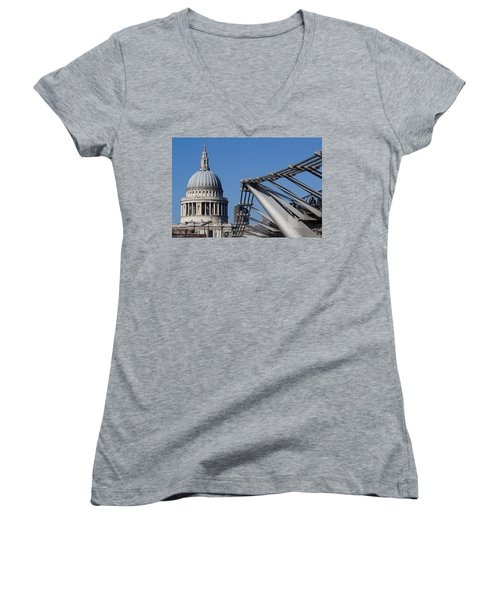 St Pauls Cathedral And The Millenium Bridge  Women's V-Neck T-Shirt