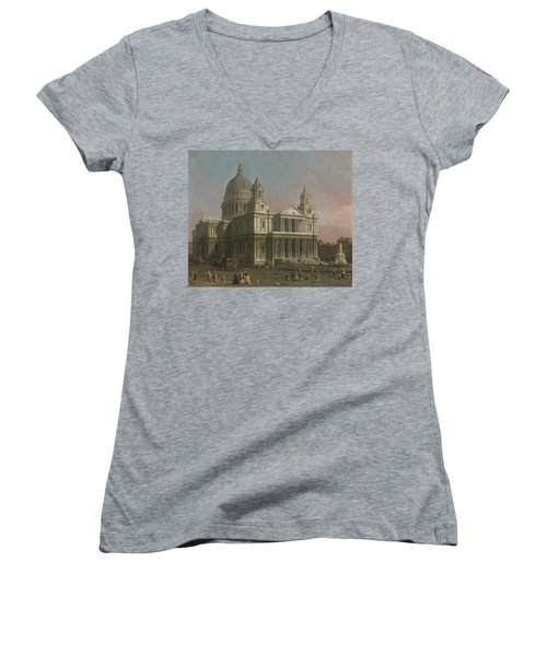 St. Paul's Cathedral Women's V-Neck T-Shirt (Junior Cut) by Giovanni Antonio Canaletto