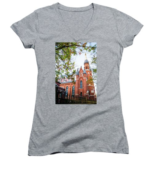 Women's V-Neck T-Shirt (Junior Cut) featuring the photograph St Paul's Cathedral In Downtown Birmingham by Shelby Young