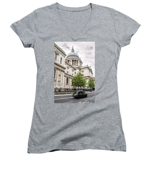 St Pauls Cathedral With Black Taxi Women's V-Neck