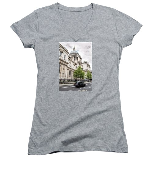 St Pauls Cathedral With Black Taxi Women's V-Neck (Athletic Fit)