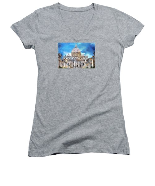 St. Peter's Basilica Women's V-Neck T-Shirt (Junior Cut) by Andrzej Szczerski