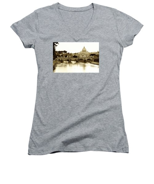 Women's V-Neck T-Shirt (Junior Cut) featuring the photograph St. Peters Basilica by Mircea Costina Photography