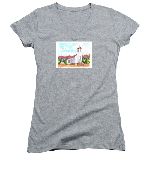 St. Peter's Catholic Church, Fayette, Mi Women's V-Neck T-Shirt (Junior Cut) by Carlos G Groppa