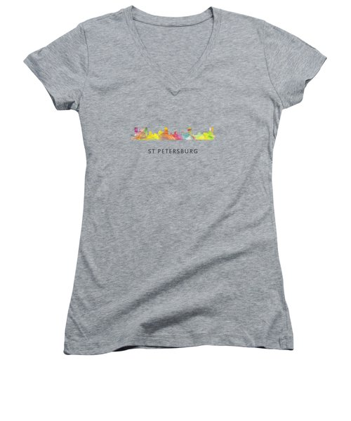 St Petersburg Florida Skyline Women's V-Neck T-Shirt (Junior Cut) by Marlene Watson