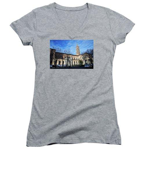 St Sernin Basilica Women's V-Neck T-Shirt (Junior Cut) by Cendrine Marrouat