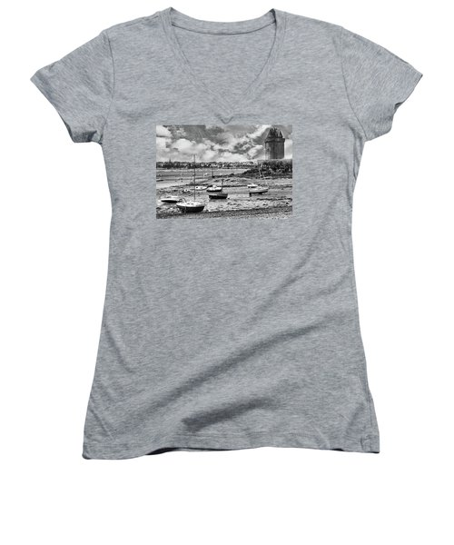 Women's V-Neck T-Shirt featuring the photograph St. Servan Anse At Low Tide by Elf Evans