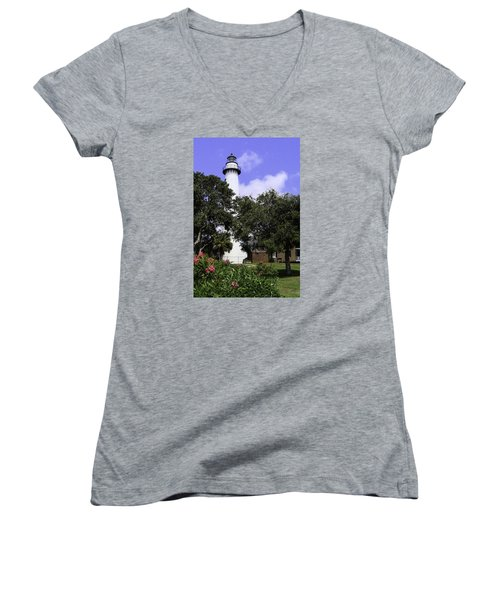 St Simons Isle Lighthouse Women's V-Neck T-Shirt (Junior Cut) by Elizabeth Eldridge