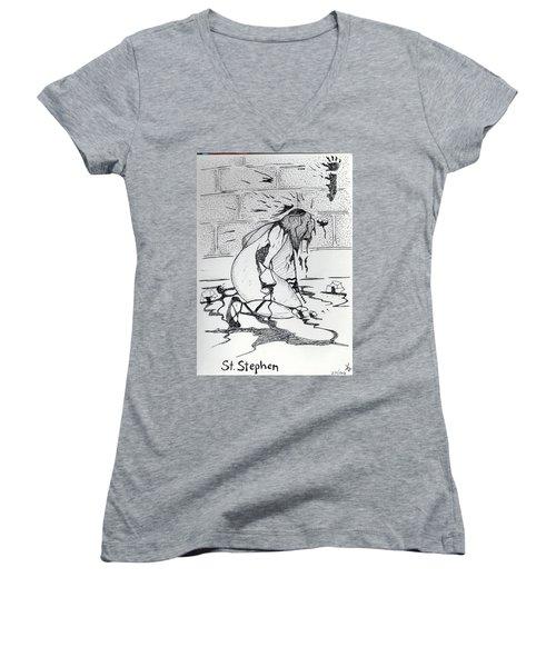 St Stephen Women's V-Neck T-Shirt (Junior Cut) by Loretta Nash