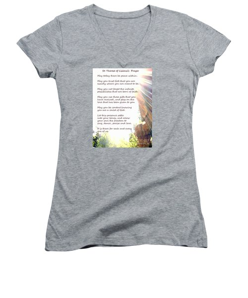 St Therese Of Lisieux Prayer And True Light Lower Emerald Pools Zion Women's V-Neck T-Shirt (Junior Cut) by Heather Kirk