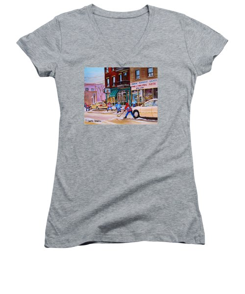 Women's V-Neck T-Shirt (Junior Cut) featuring the painting St. Viateur Bagel With Boys Playing Hockey by Carole Spandau