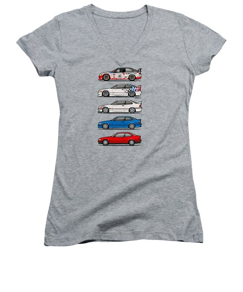 Stack Of Bmw 3 Series E36 Coupes Women's V-Neck (Athletic Fit)