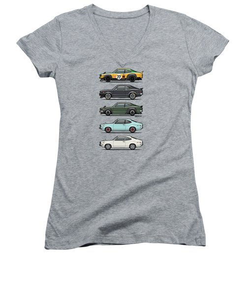 Stack Of Mazda Savanna Gt Rx-3 Coupes Women's V-Neck T-Shirt (Junior Cut) by Monkey Crisis On Mars