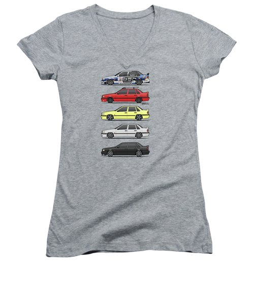 Stack Of Volvo 850r 854r T5 Turbo Saloon Sedans Women's V-Neck (Athletic Fit)