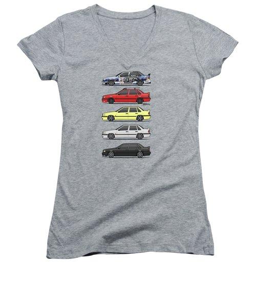 Stack Of Volvo 850r 854r T5 Turbo Saloon Sedans Women's V-Neck T-Shirt