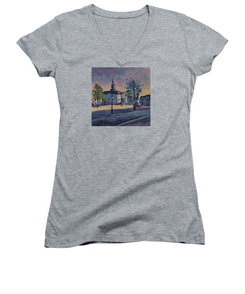 Women's V-Neck T-Shirt (Junior Cut) featuring the painting Stadhuis Maastricht by Nop Briex