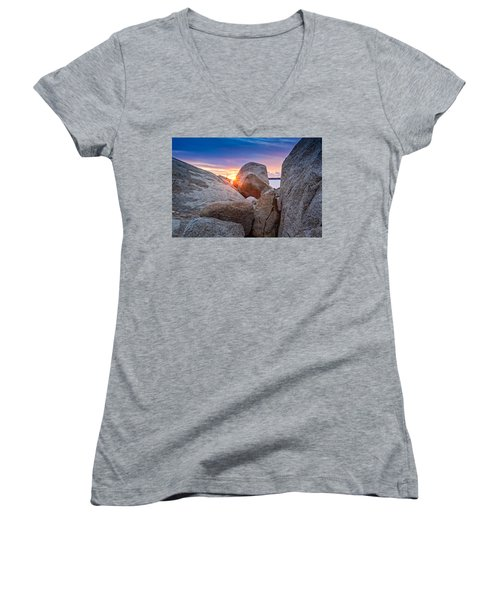 Women's V-Neck featuring the photograph Stage Fort Park Gloucester by Michael Hubley