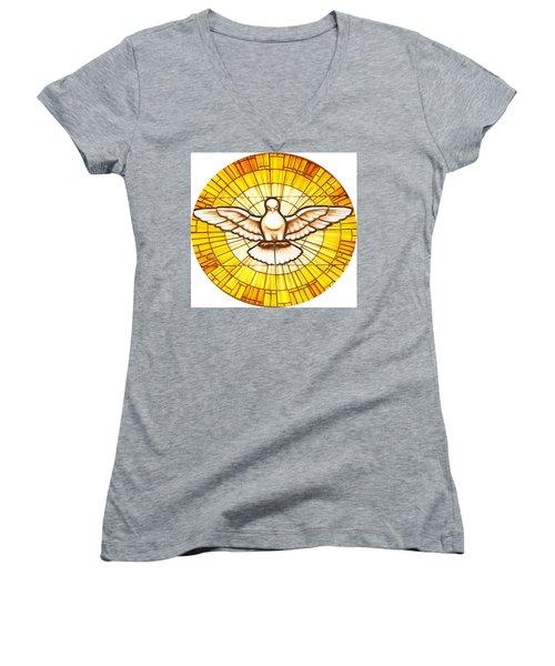 Stain Glass Dove Women's V-Neck T-Shirt