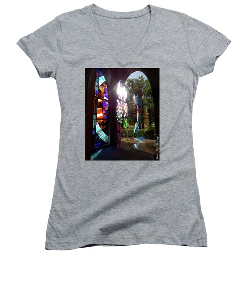 Stained Glass #4720 Women's V-Neck T-Shirt (Junior Cut) by Barbara Tristan
