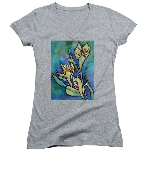 Stained Glass Flowers Women's V-Neck