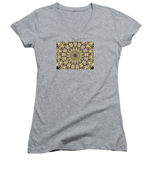 Women's V-Neck T-Shirt (Junior Cut) featuring the photograph Stained Glass Kaleidoscope 22 by Rose Santuci-Sofranko