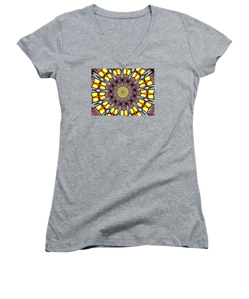 Women's V-Neck T-Shirt (Junior Cut) featuring the photograph Stained Glass Kaleidoscope 23 by Rose Santuci-Sofranko