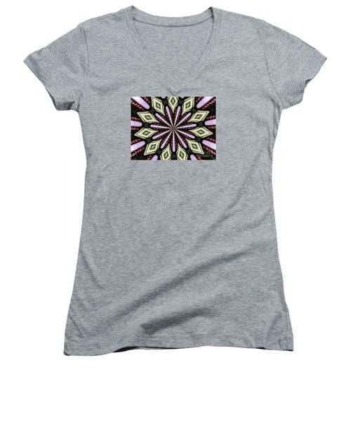 Women's V-Neck T-Shirt (Junior Cut) featuring the photograph Stained Glass Kaleidoscope 25 by Rose Santuci-Sofranko